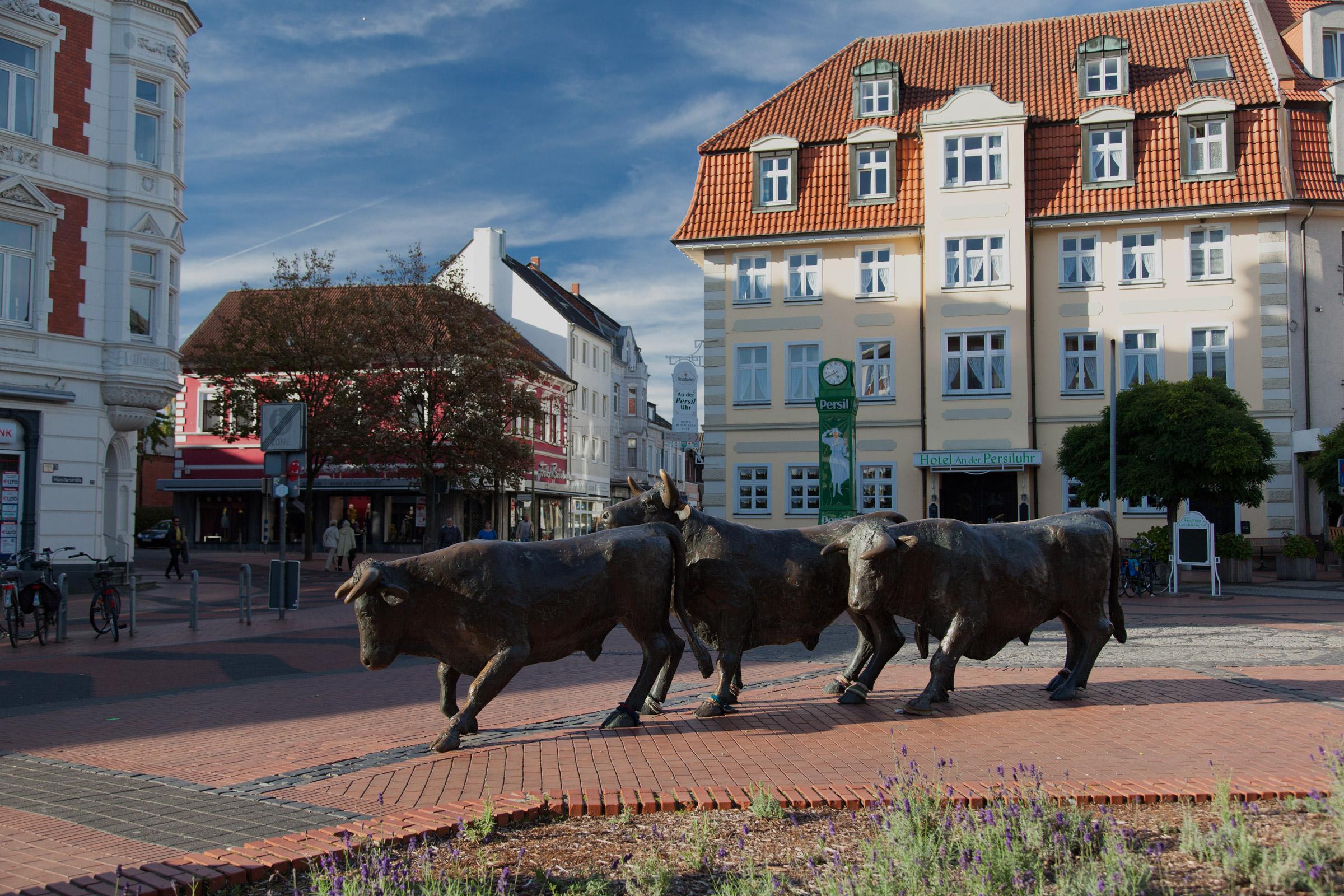 Stiere an der Lüner Persiluhr in der Fußgängerzone